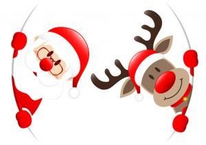 Rudolph & Santa Round Banner Inside