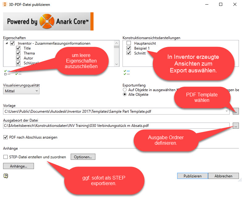 3D PDF Optionen